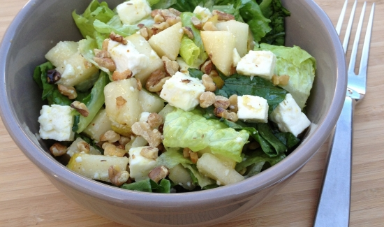 Pear, Feta, Walnut Salad
