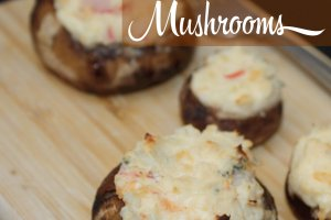 Seafood stuffed mushrooms with crab and shrimp.