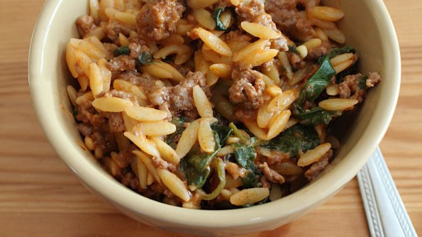 Bowl of Cheesy Beef Orzo for post that includes recipe