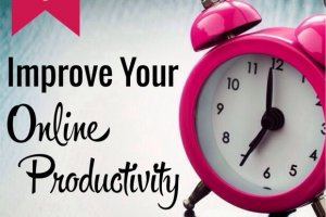 Clock for post on tips to improve your online productivity.