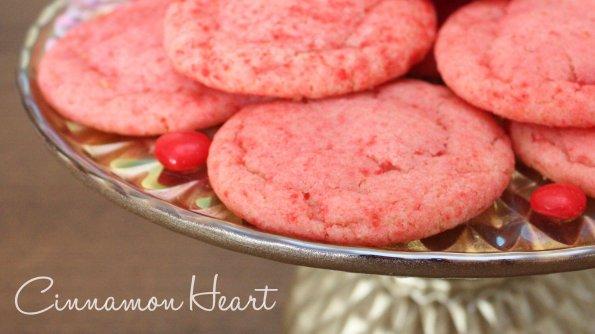 A delicious sugar cookie using cinnamon heart candies. Fun for Valentine's.