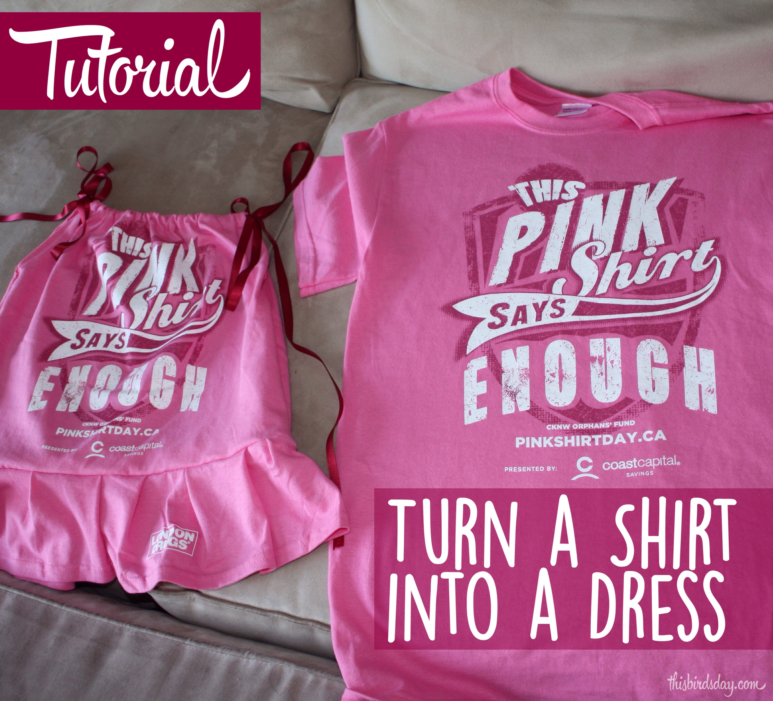 How to turn a t-shirt into a girls dress: tutorial | This Bird's Day