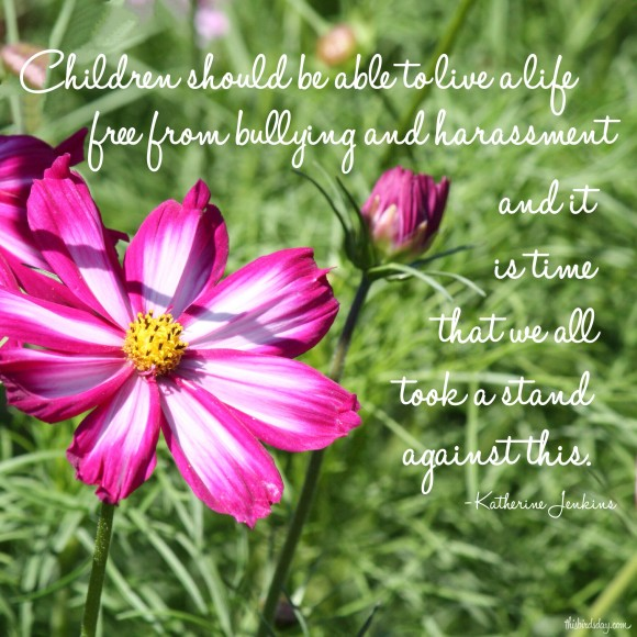 """Children should be able to live a life free from bullying and harassment and it is time that we all took a stand against this."" Katherine Jenkins Photo copyright Sheri Landry"