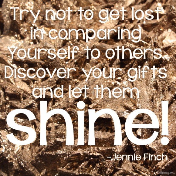 """Try not to get lost in comparing yourself to others. Discover your gifts and let them shine."" Jennie Finch photo copyright Sheri Landry thisbirdsday.com"