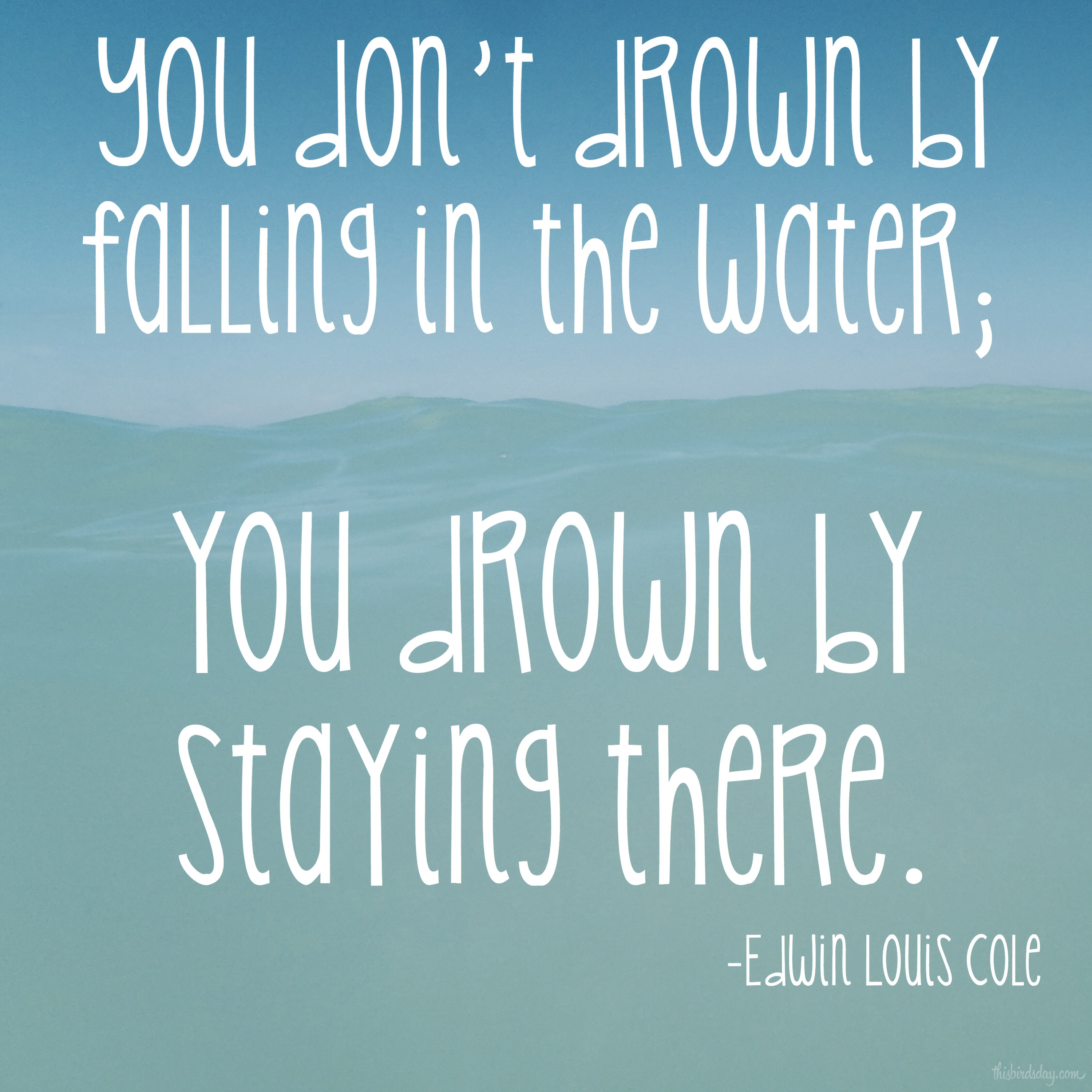 """You don't drown by falling in the water; you drown by staying there."" Edwin Louis Cole Photo copyright Sheri Landry"