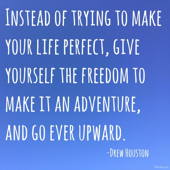 """Instead of trying to make your life perfect, give yourself the freedom to make it an adventure, and go ever upward."" Drew Houston photo copyright Sheri Landry"