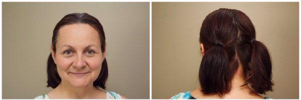 Using the slideproof elastics from Goody, this double ponytail stays in place.