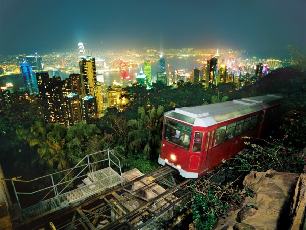 Pulled by steel cables, the Peak Tram climbs 373 metres to The Peak. The gradient is so steep that buildings seem to pass by at a 45-degree angle. It is a great trip whether visitors are going up or coming down! Photo credit: HKTB