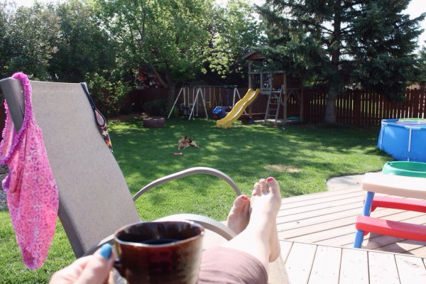 Enjoying a cup of coffee on the deck while the kids eat breakfast in their bathing suits. It's going to be that kind of day and I love it.