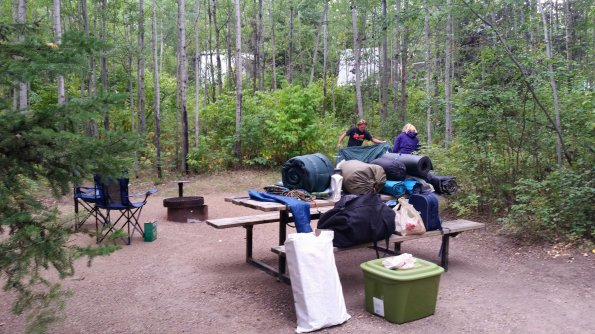 Setting up the campsite. Photo credit Stacey Brotzel.
