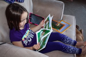 At four years old, reading on her own is still a while off, but she is getting used to her ABC's, and the sounds they make. I appreciate that the app doesn't just continue on without her. Photo copyright, Sheri Landry.