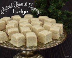 Spiced rum & eggnog fudge recipe.
