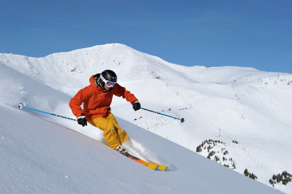 Skiing at Marmot Basin. Photo credit: Marmot Basin