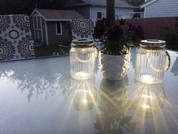 Solar lights from Giant Tiger provide a soft light when the sun goes down.