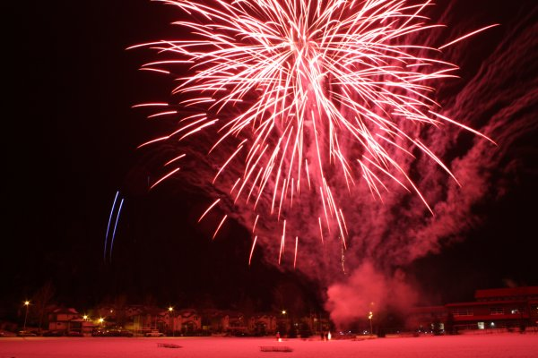 The fireworks at the end of Jasper in January are spectacular. Photo copyright, Sheri Landry.