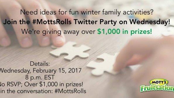 #MottsRolls Twitter Party on 02/15/2017 at 8:00 PM ET