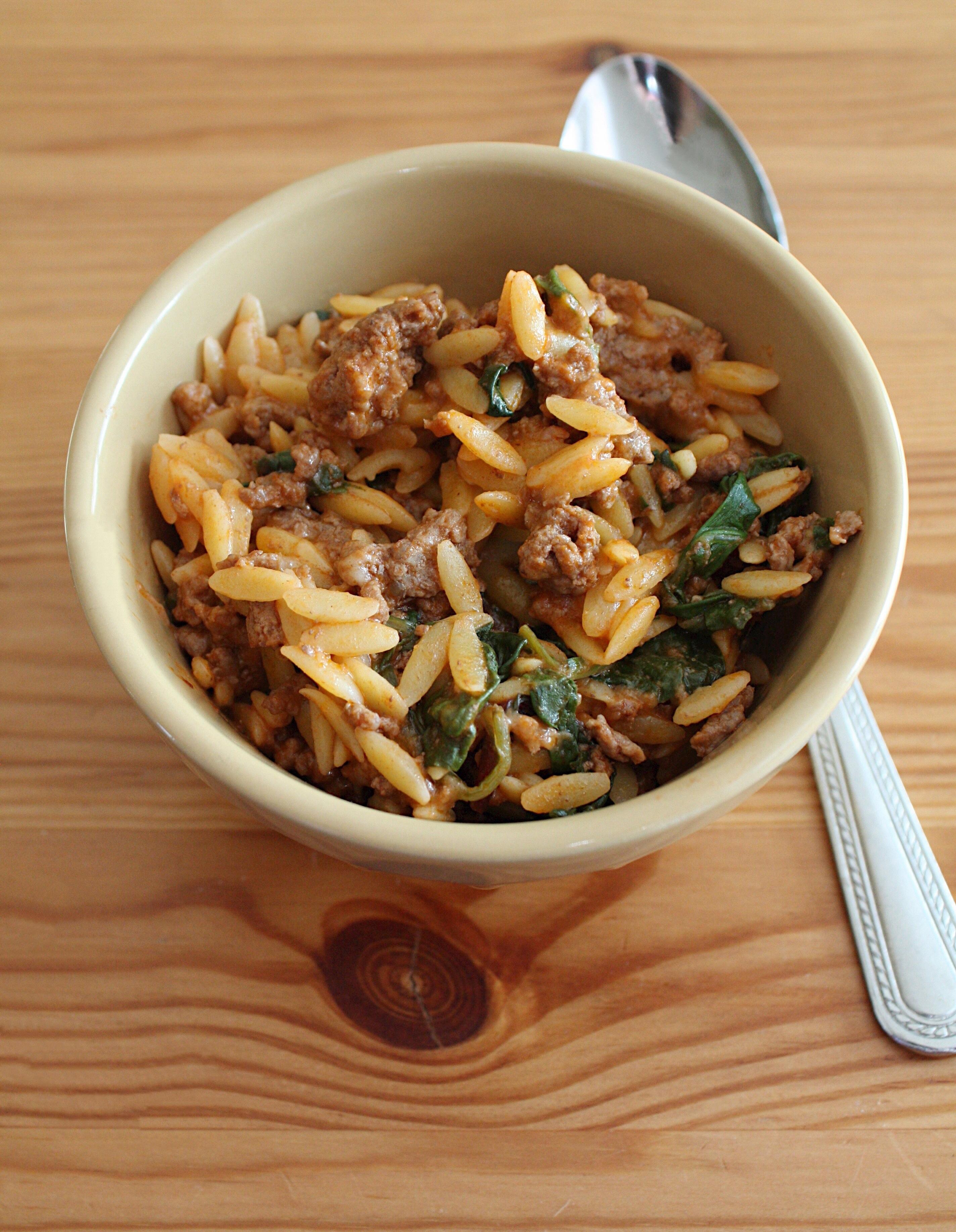 Cheesy Beef Orzo Recipe