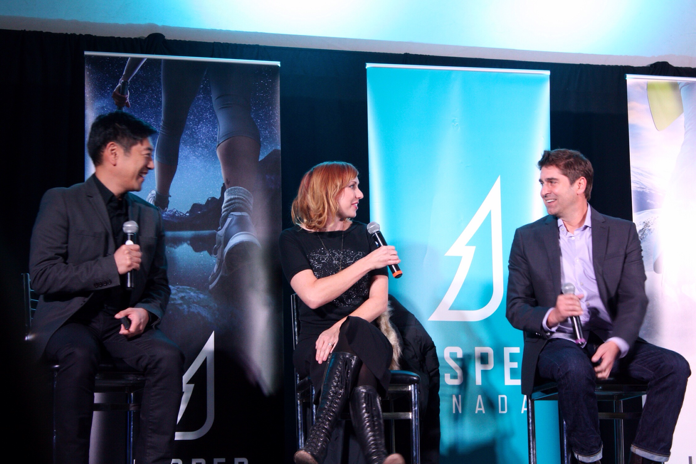 Grant Imahara, Kari Byron and Tory Belleci, former co-hosts of the Discovery Channel's Mythbusters spoke on Saturday evening and shared stories of their time on the show and what was happening with them now. Photo copyright Sheri Landry.